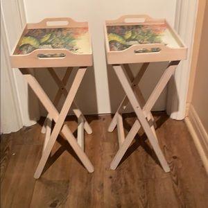 Vintage Wood TV tables w/ détachable serving trays